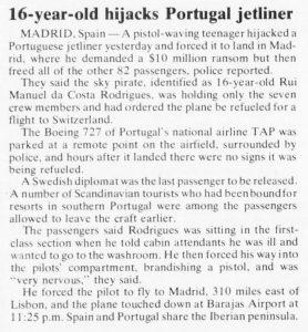 avião sequestrado