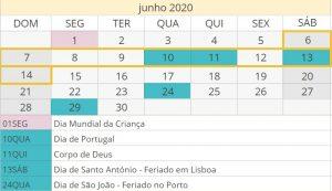 Calendário de 2020 para rentabilizar as férias em família